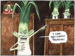 I leak, they commit treason! Steve Bell 2008 cartoon